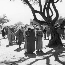 scènes vie palabres souk hommes debout babouches djellaba âne turban burnous rozza