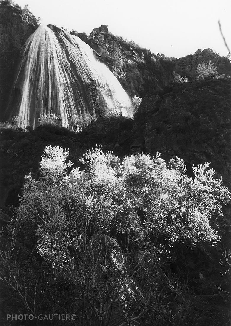 paysage torrent rivière voile de la mariée lumière fleurs