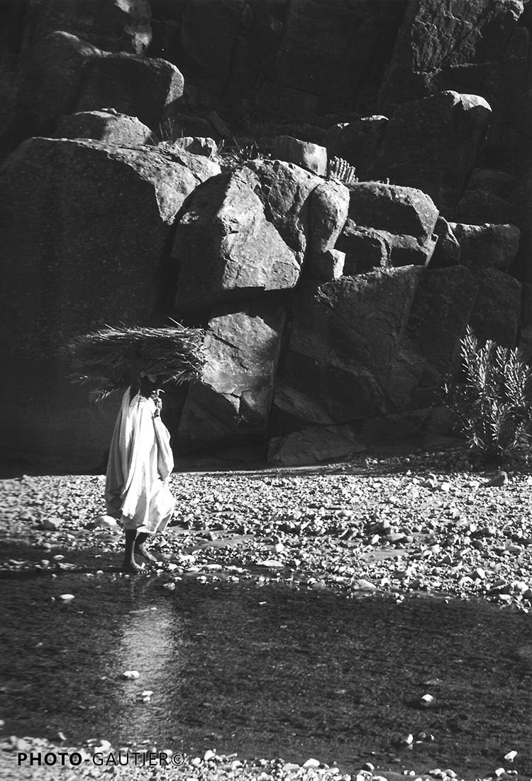scènes vie rivière transport fagots bois fardeau ramée eau reflet serpette homme